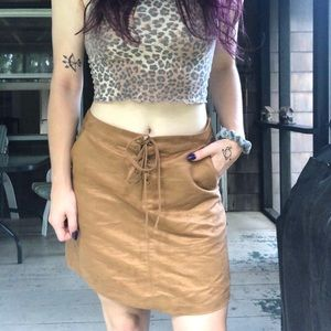 Tan lace up skirt